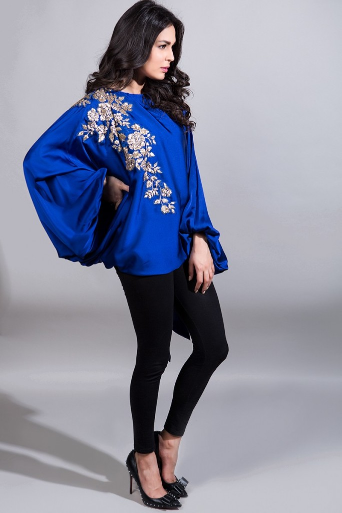 Maria B Blue Silk Top for Eid