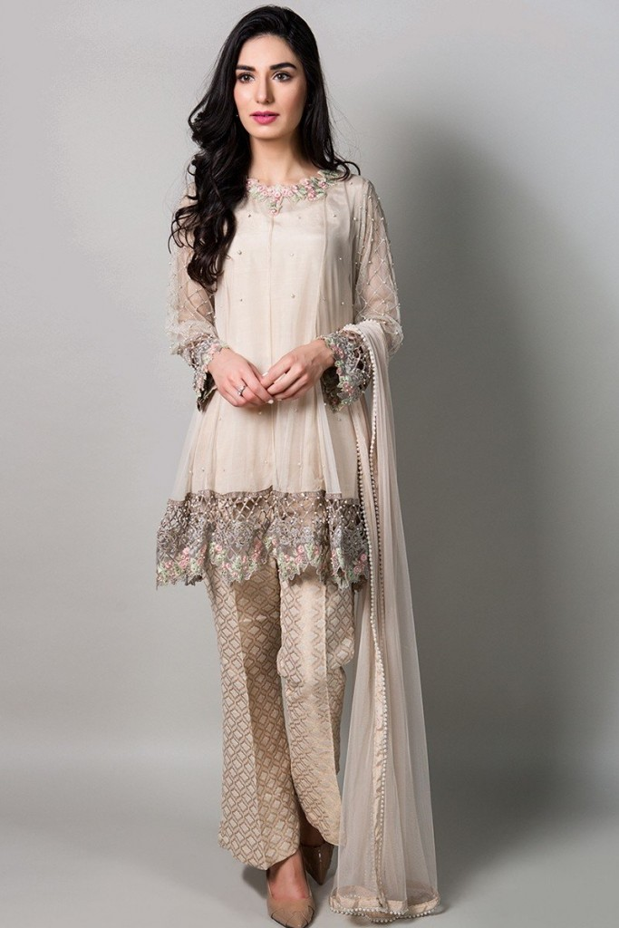 Maria B off-white Net A-Line Frock for Eid