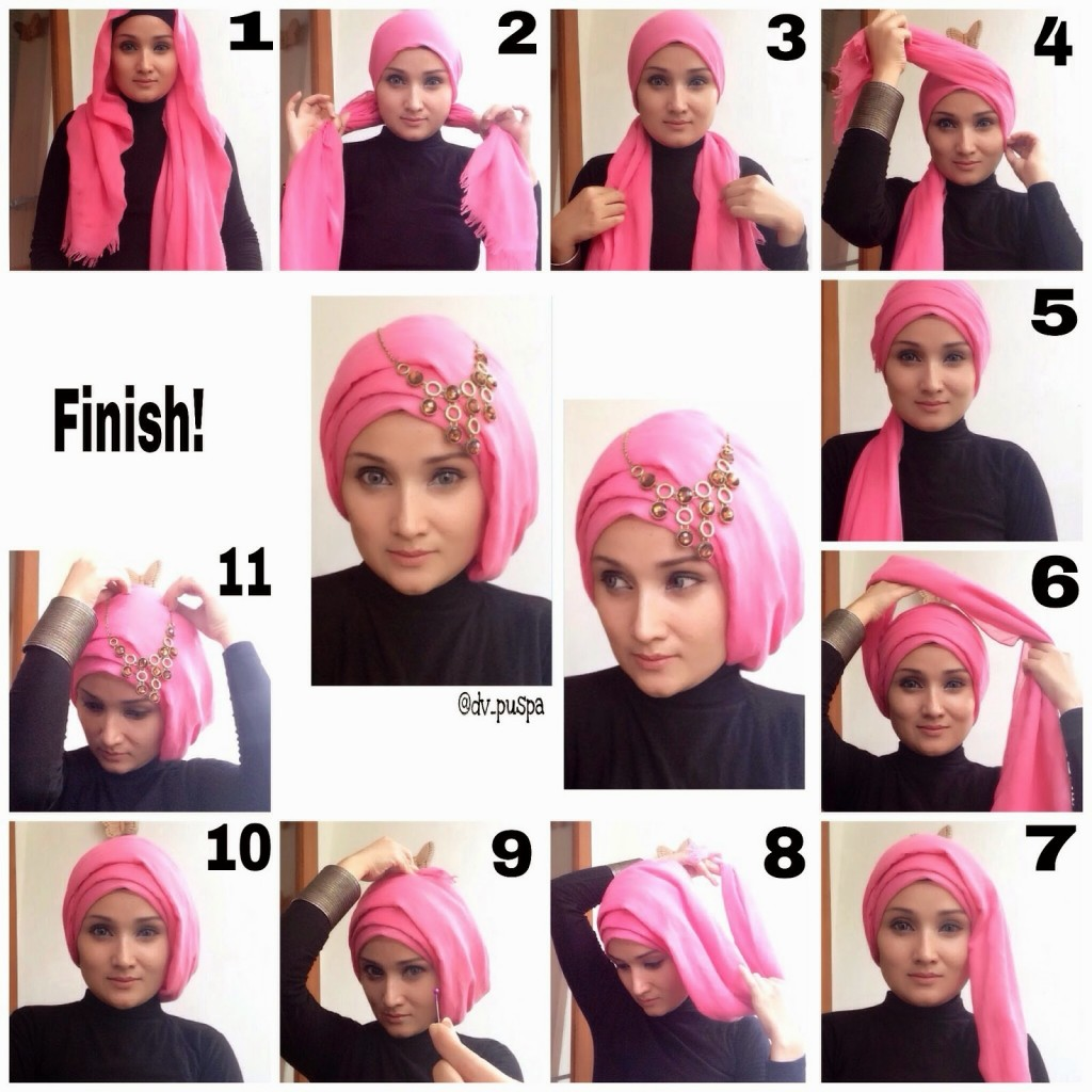 Eid Turban Hijab Styles Step by Step Tutorials 2018