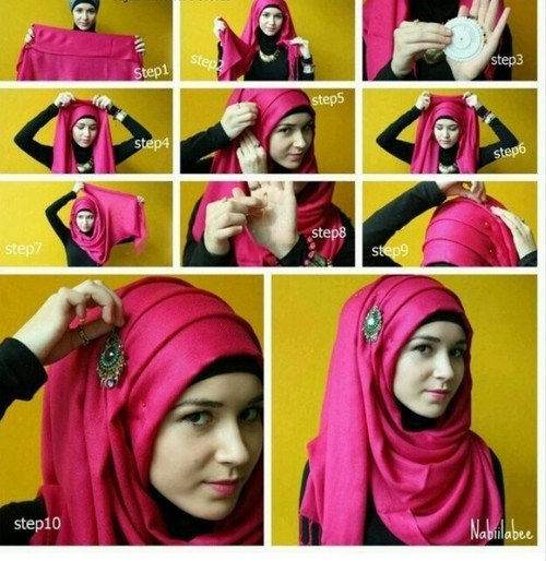 How to wear modren Hijab Styles Step by Step Tutorials
