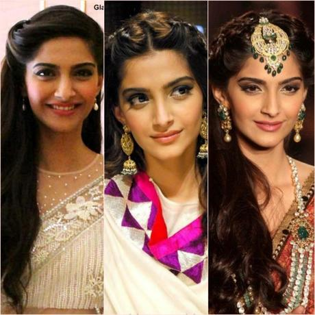 Sonam Kapoor Inspired Hairstyles with Saree