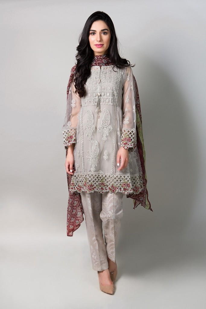 Light Grey Eid Frock by Maria B
