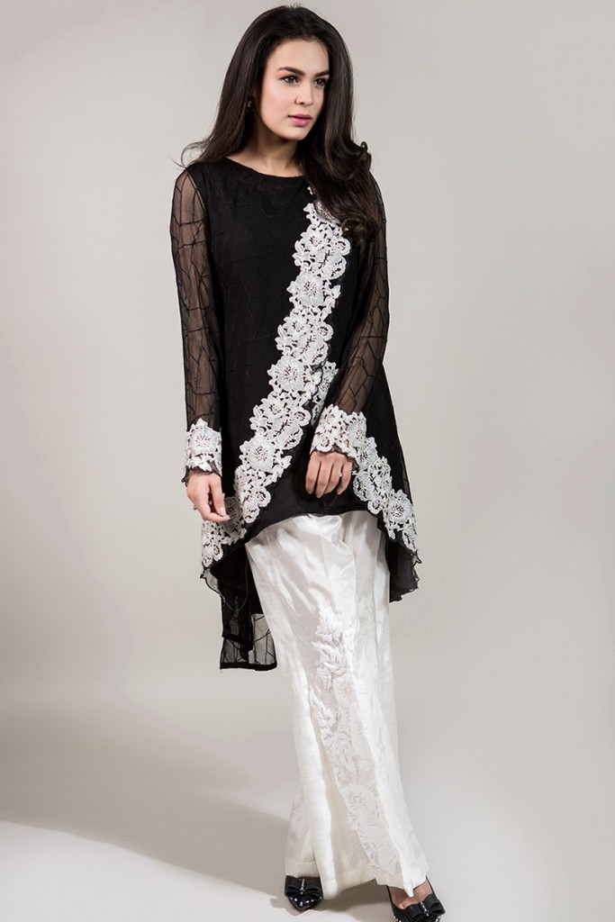 Black and White Eid High Low Frock by Maria B