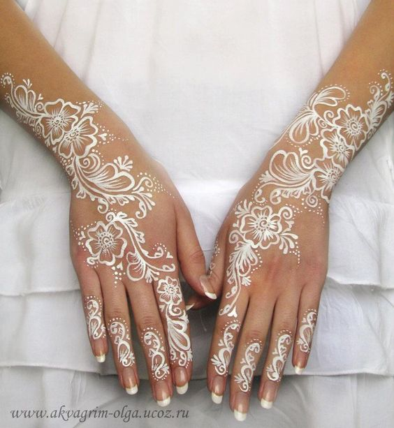 Beautiful White Mehndi Designs for Bridals