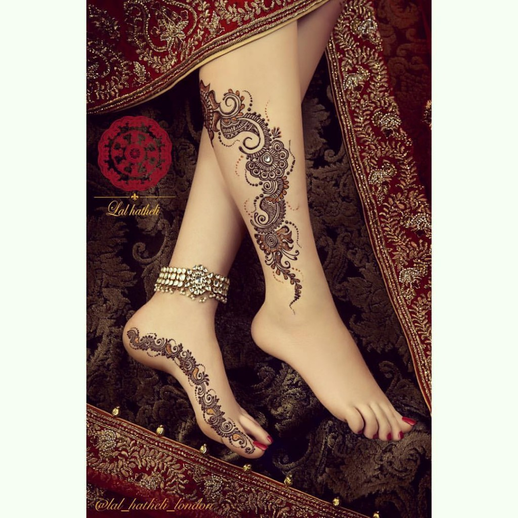 Easy Punjabi Mehndi Designs and Tattoos for Feet, Legs and Ankles