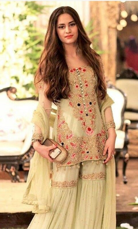 Short Shirt with Sharara or gharara for Walima