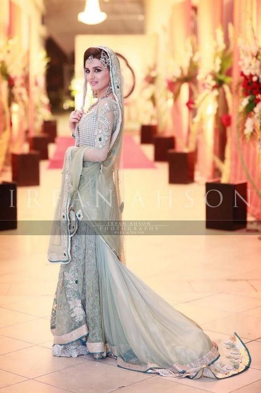 Bridal Trailed Gown for Walima in Sea Green Color