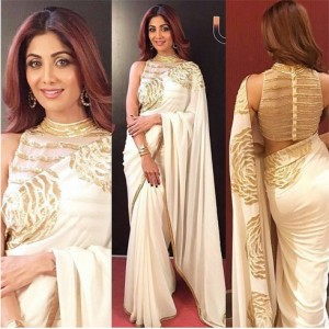 Celebrity white Blouse Design for Saree 2017