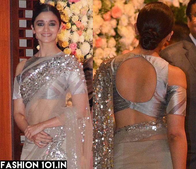 Celebrity Deep Cut Back Blouse Designs for Saree 2017