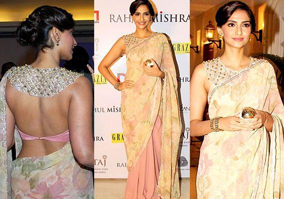 Celebrity Backless Blouse Design for Saree 2017