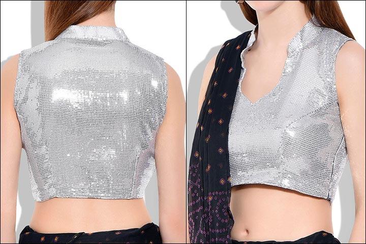 Silver Designer Blouse Design for Lehenga 2017