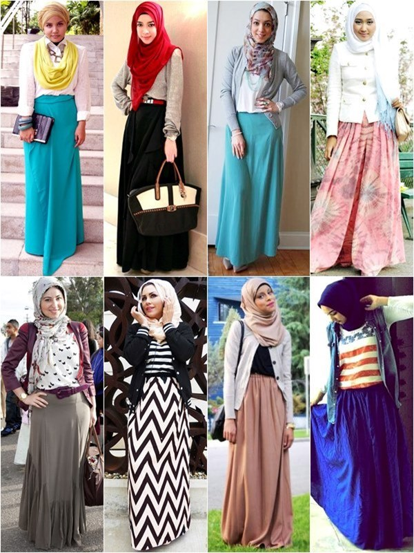 new fashion hijab styles with skirt