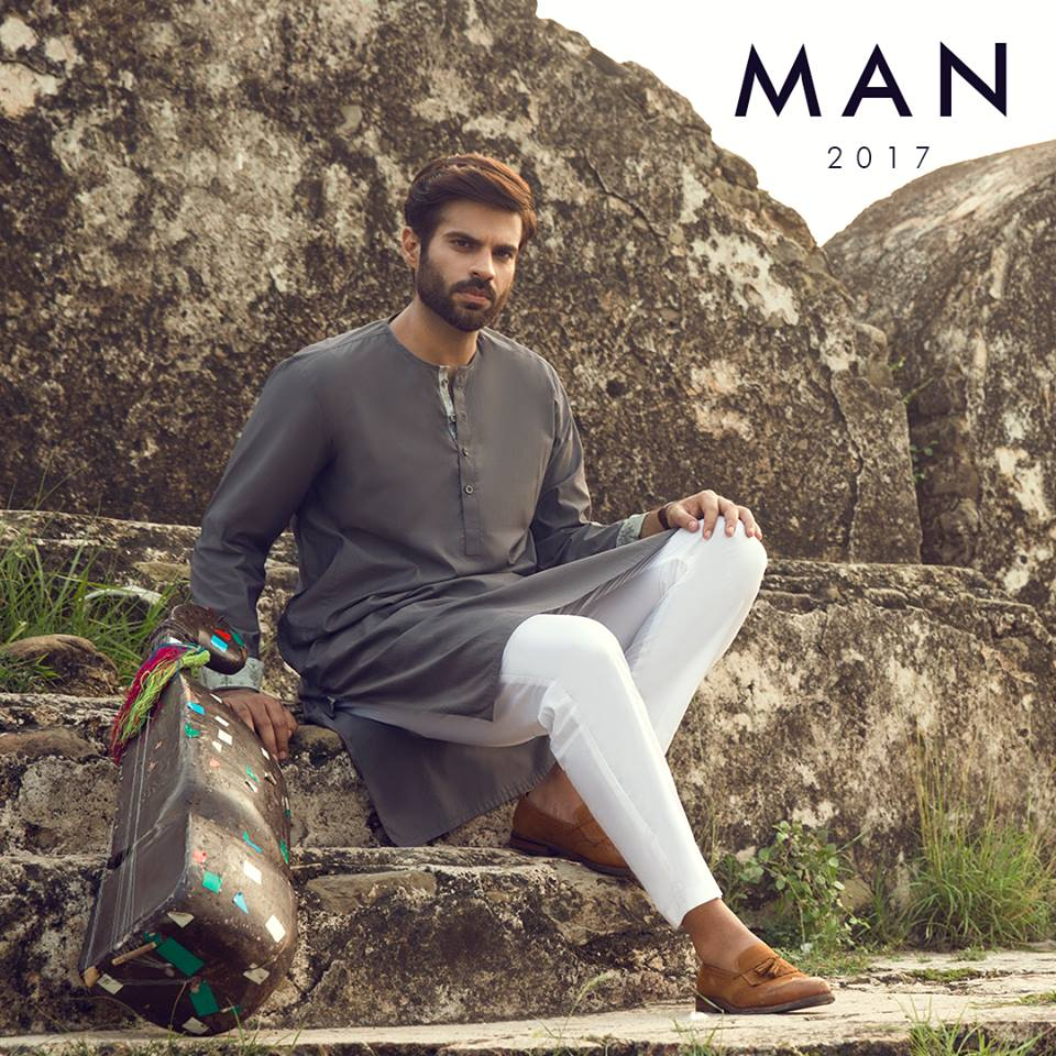 Men Grey Eid Kurta with White Trouser 2017