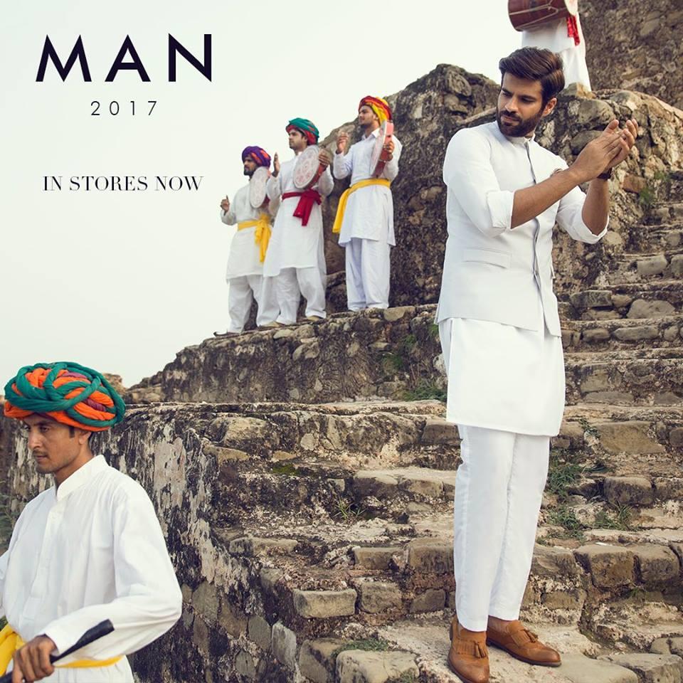 Sapphire Men White Kurta pajama and waistcoat for eid ul azha