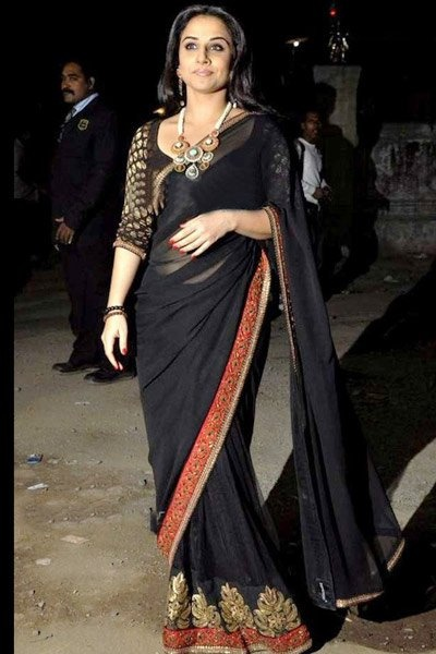 Party Wear Black Saree Designs for Pakistani and Indian Girls
