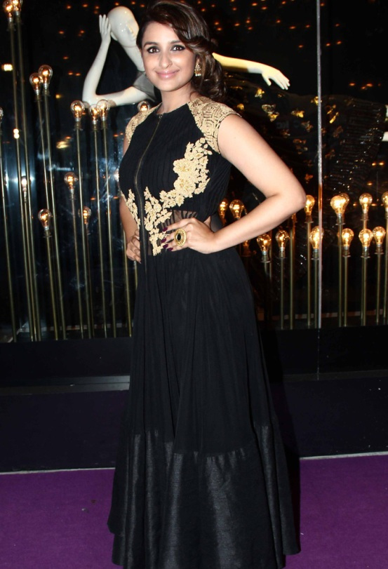Parineeti Chopra in black Party Wear Black and gold anarkali Frock