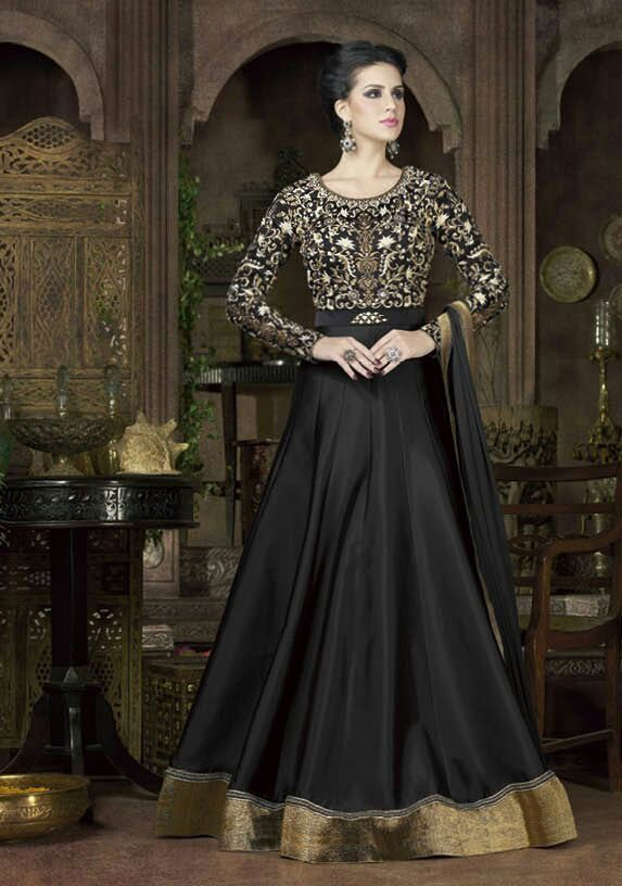 black Party Wear Anarkali Frock Indian and Pakistani