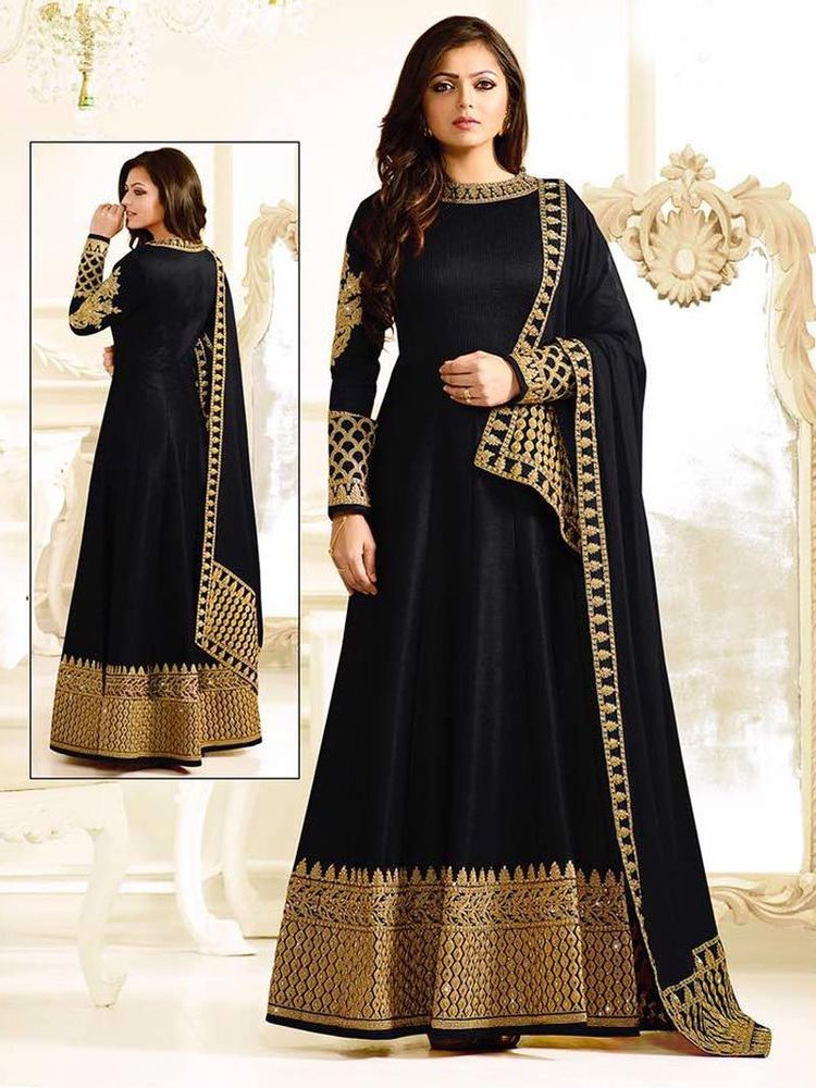 Party wear black and gold Indian Frock