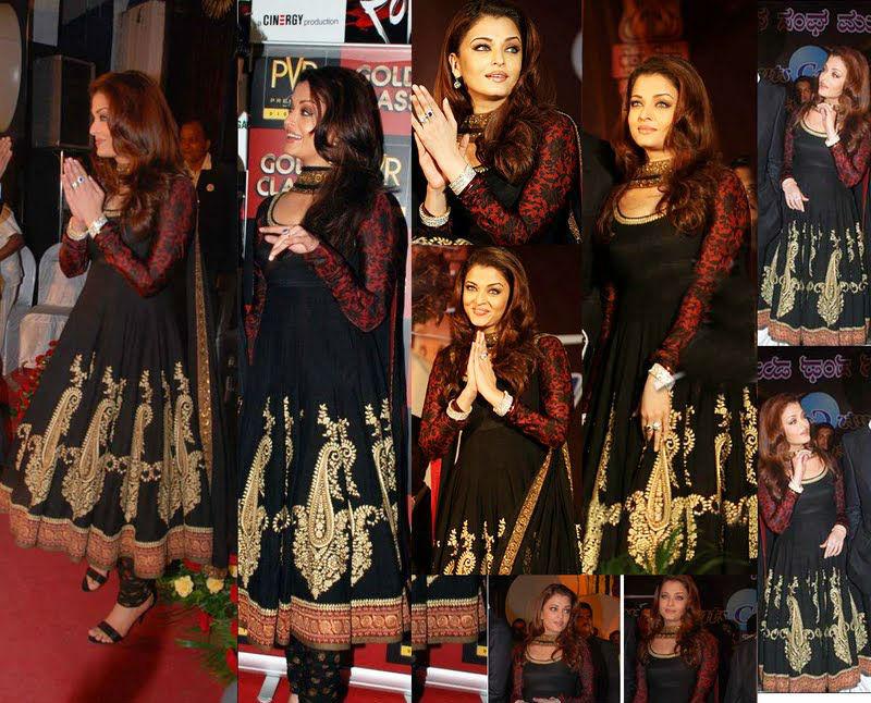 Ashwarya Ray in black Party Wear Black Anarkali Frock
