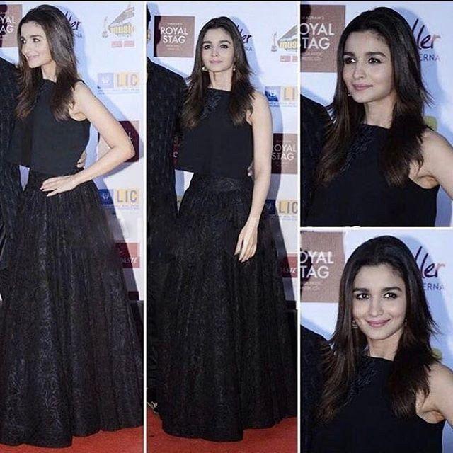 Alia Bhatt in party wear black skirt