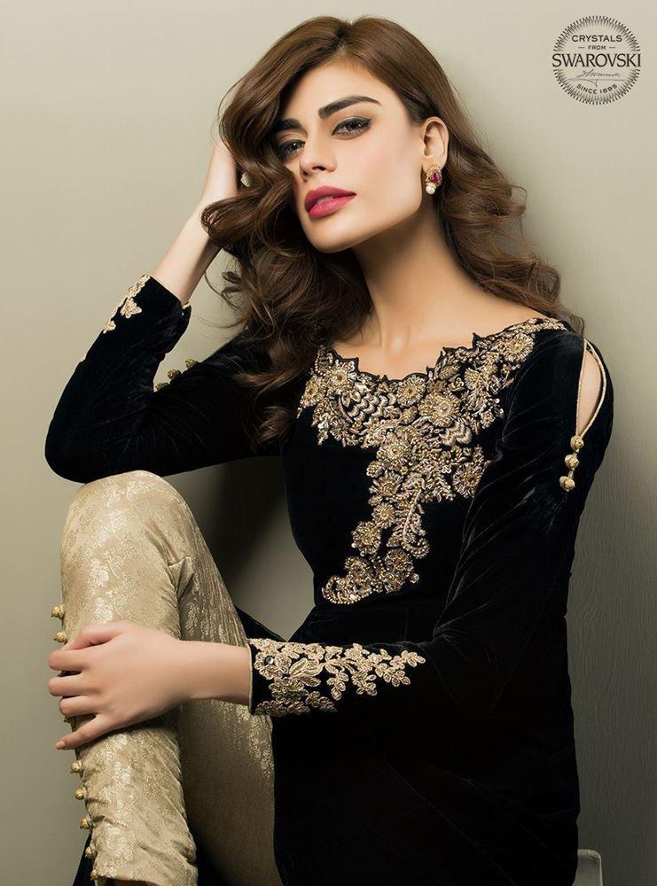Golden embroidered Formal Wear Black velvet Shirt for Party