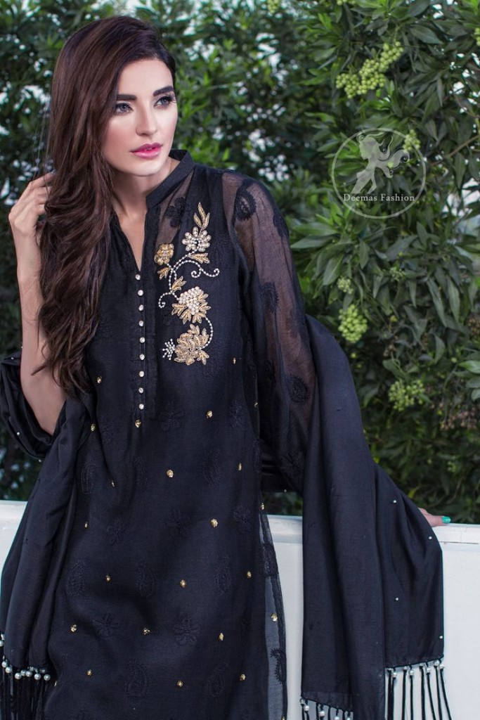 Black Party wear dress for Pakistani and Indian women