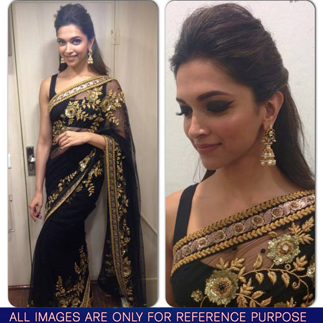 Deepika Padukon in party wear black and golden embroidered saree