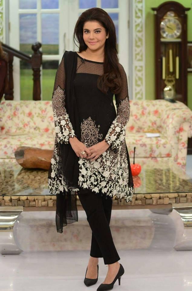Nida Yasir in Formal Wear Black Shirt for Party