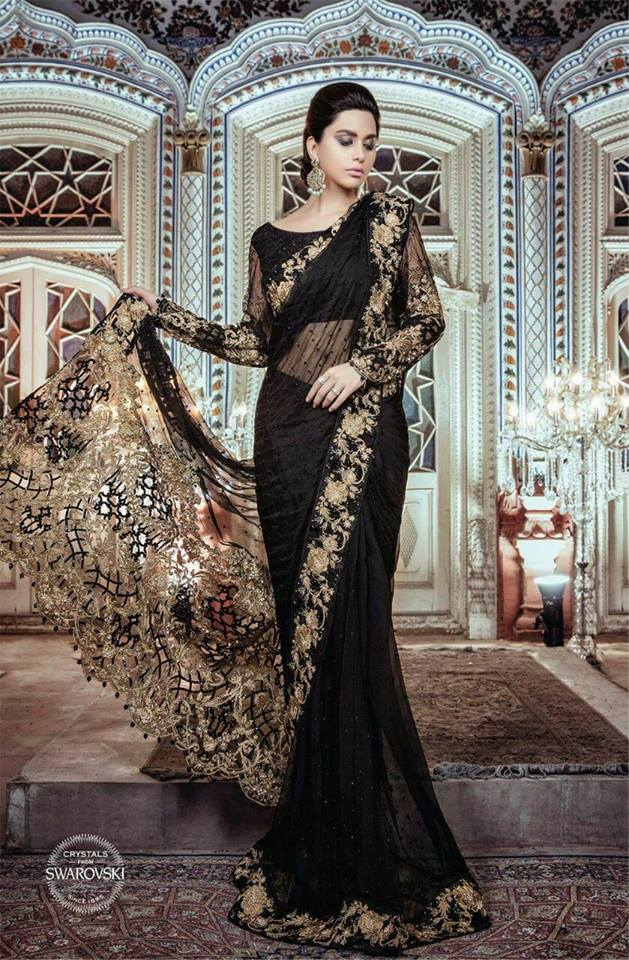 Maria B Black & Gold Saree 2017 2018