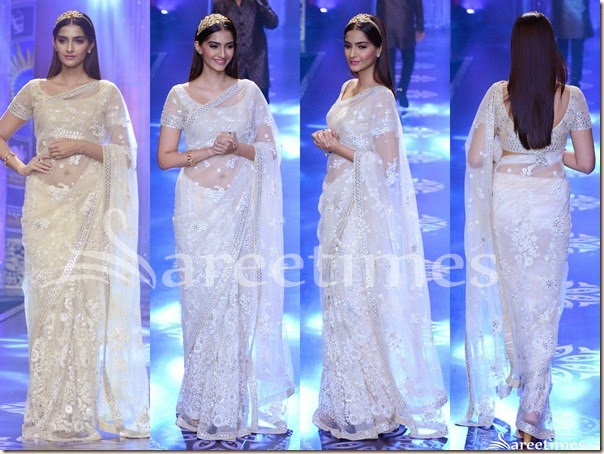 Sonam Kapoor in Designer Party Wear White Saree Designs 2017 2018