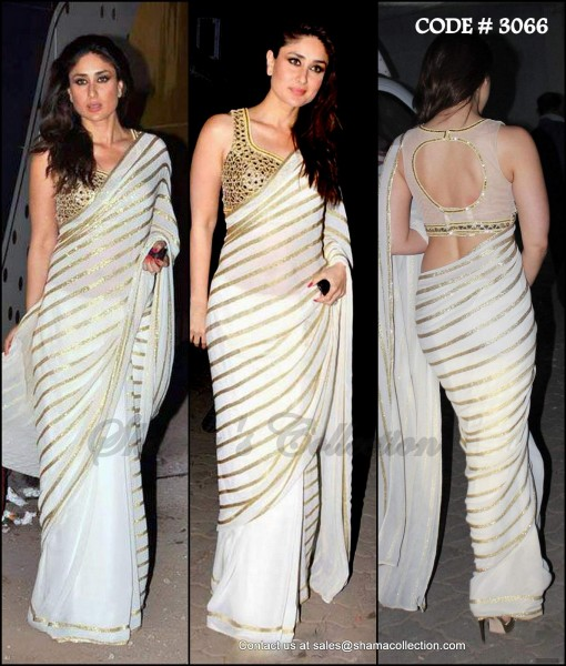 Kareena Kapoor Khan in Designer Party Wear White Saree Designs 2017 2018