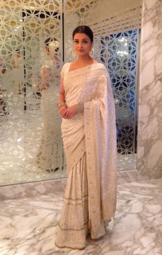 Ashwariya in Designer Party Wear White Saree Designs 2017 2018
