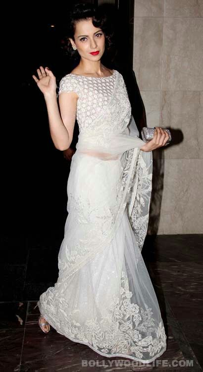 Kangna Ranaut Designer Party Wear white net Saree Designs 2017 2018