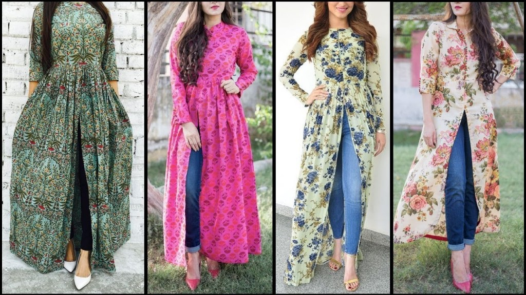 Latest Slit Kurti With Jeans designs 2017 2018