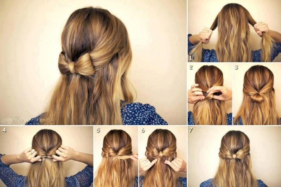 Pretty Bow Hairstyles For School