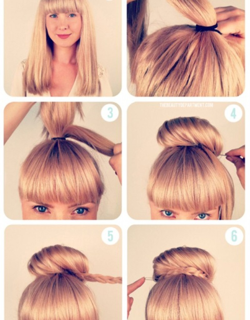 Pretty Ballerina Bun Hairstyle For School