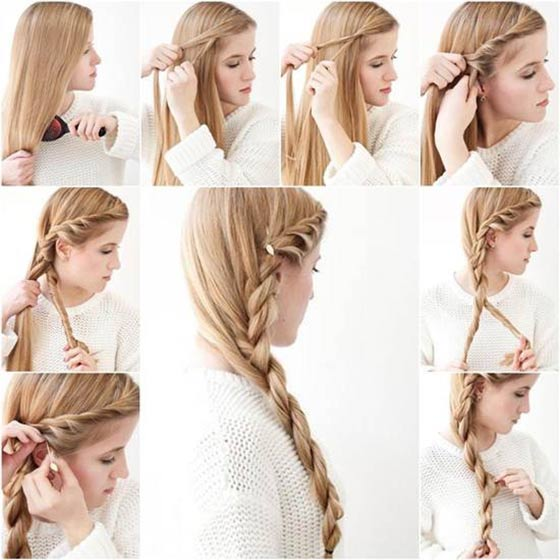 Pretty side braid Hairstyles For School