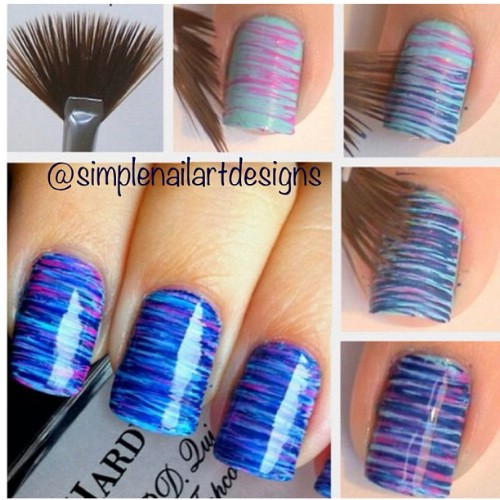 Thin striped DIY Nail Art Designs