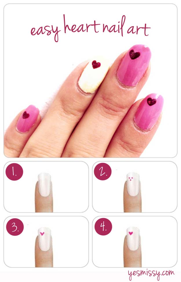 Heart DIY Nail Art Designs
