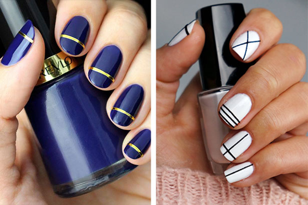 Diy nail art designs that are super easy to do at home fashionglint striped diy nail art designs prinsesfo Image collections