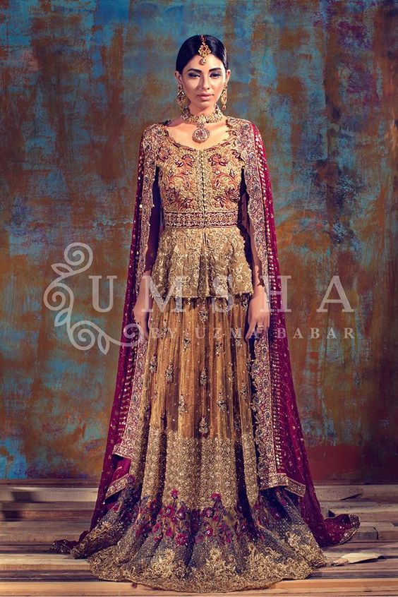 Pakistani Bridal Dresses for Barat Day  In Red  and Gold Color