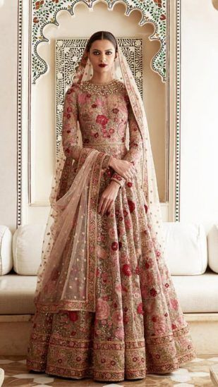 Pakistani Bridal Dresses for Barat Day In Pastel Pink Color