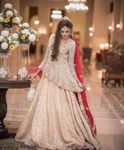 Pakistani Bridal Dresses for Walima in White and Red Color