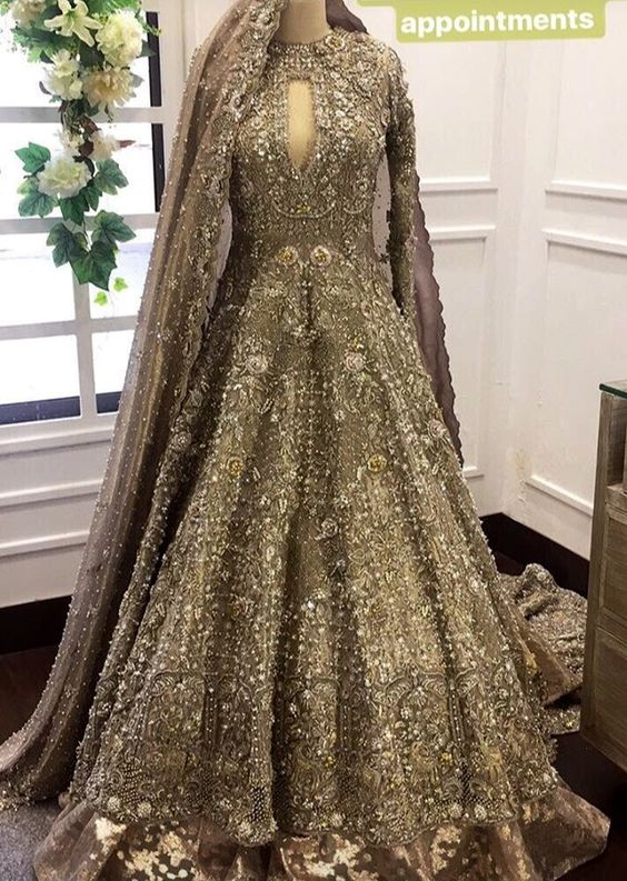 Pakistani Bridal Dresses for Walima in Grey and Sliver Color