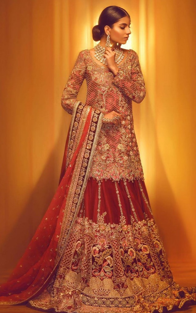 Pakistani Bridal Dresses for Barat Day  In Rust Color