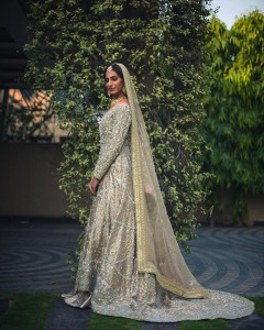 Pakistani Bridal Dresses for Walima in Off white Color