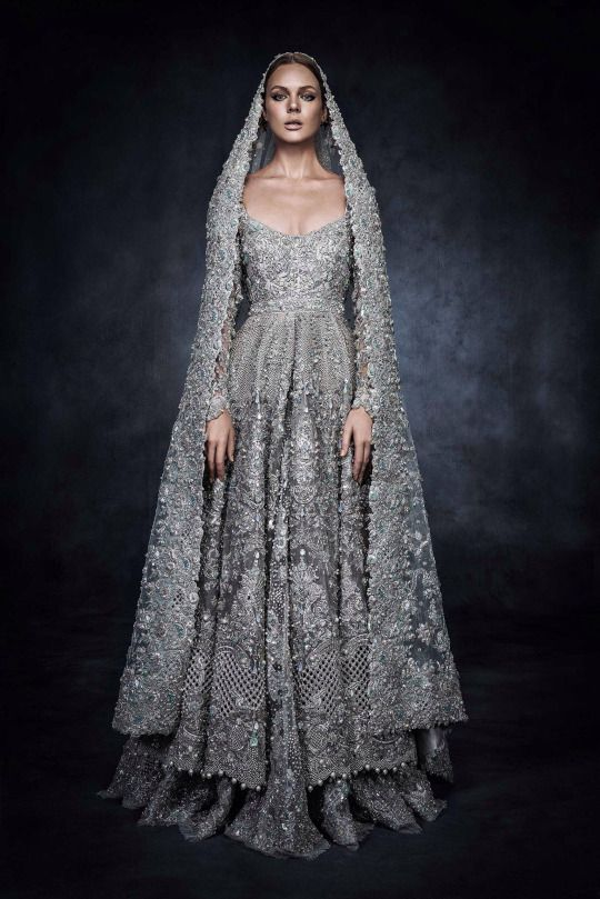 Pakistani Bridal Dresses for Walima in Grey & Silver Color