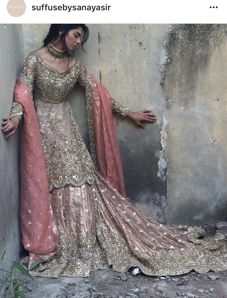 Pakistani Bridal Dresses for Walima in Pastel Pink Color