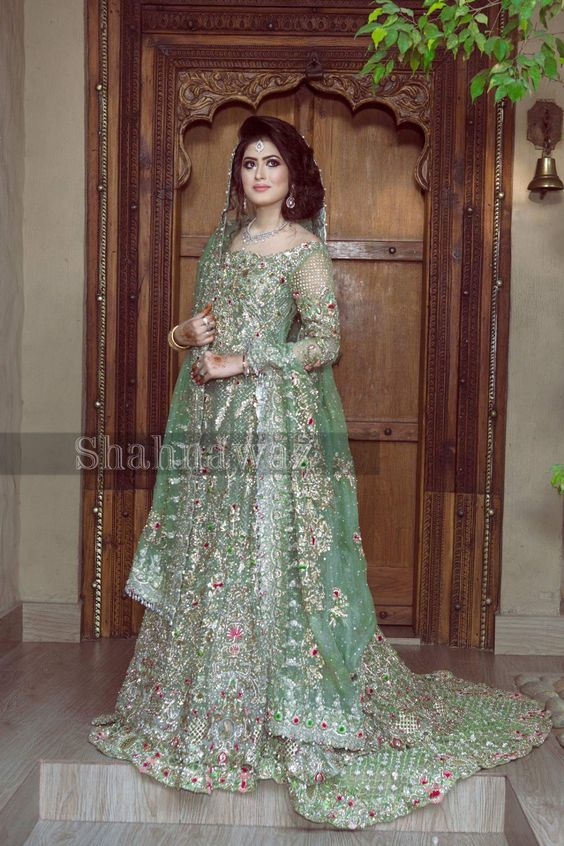 Pakistani Bridal Dresses for Walima in Pastel Green Color