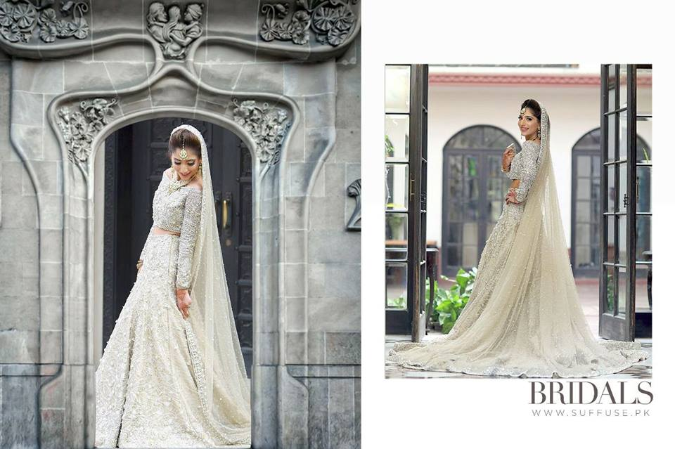 Designer Pakistani Bridal Dresses for Walima in Pastel Color